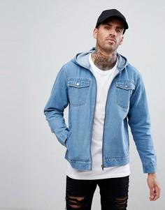 Куртка с эффектом кислотной стирки и капюшоном Ascend Denim - Синий