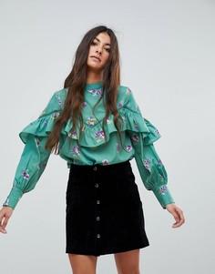 Топ с цветочным принтом, рюшами и пышными рукавами на манжете Influence - Зеленый