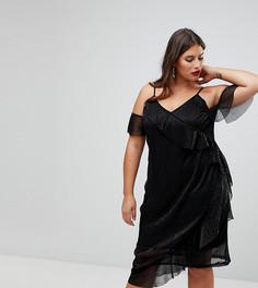 Платье миди с блестками и запахом NaaNaa Plus - Черный