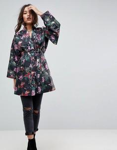 Жаккардовая куртка в стиле кимоно с цветочным принтом ASOS - Мульти