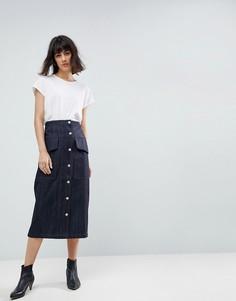 Комбинируемая джинсовая юбка миди в стиле милитари ASOS WHITE - Синий