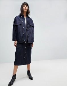 Комбинируемая джинсовая оверсайз-куртка в стиле милитари ASOS WHITE - Синий