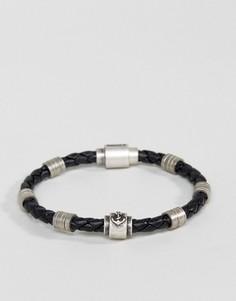 Плетеный кожаный браслет Steve Madden - Черный