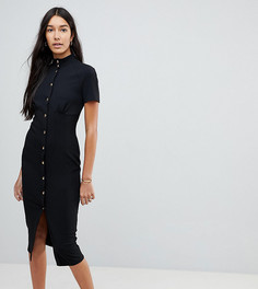Платье миди на кнопках в корсетном стиле с высоким воротником ASOS TALL - Черный