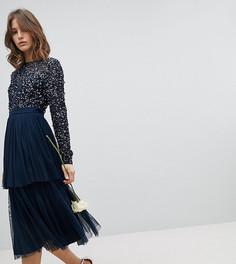 Платье миди с длинными рукавами, пайетками на лифе и ярусной юбкой из тюля Maya - Темно-синий