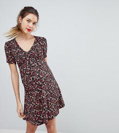 Чайное платье мини с цветочным принтом, пуговицами и V-образным вырезом ASOS MATERNITY - Мульти