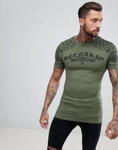 Длинная облегающая футболка с платочным принтом на кокетке ASOS - Зеленый