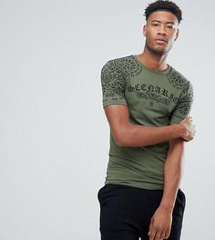 Длинная обтягивающая футболка с принтом ASOS TALL - Зеленый