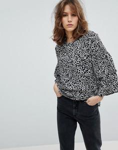 Блузка со звериным принтом Moss Copenhagen - Черный