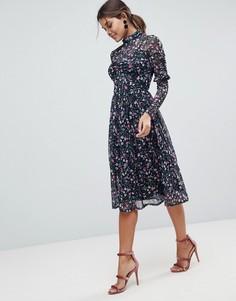 Сетчатое платье миди с высоким воротником и цветочным принтом ASOS - Мульти