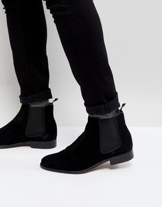 Черные замшевые ботинки челси Walk London - Черный