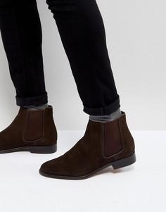 Коричневые замшевые ботинки челси Walk London - Коричневый