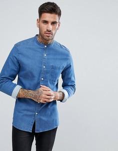 Зауженная джинсовая рубашка с воротом на пуговице ASOS - Синий