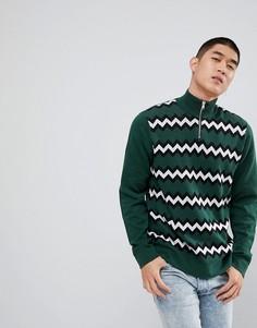 Зеленый джемпер в шевронную полоску с короткой молнией ASOS - Зеленый