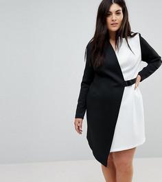 Платье-блейзер в стиле колор блок с поясом ASOS CURVE - Мульти