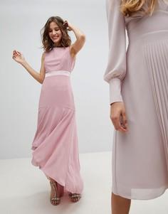 Асимметричное платье макси с бантом на спине TFNC WEDDING - Розовый