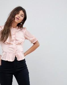 Блузка с пышными рукавами в стиле 40-х ASOS - Розовый