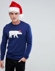 Новогодний джемпер с полярным медведем Tom Tailor - Темно-синий