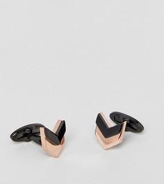 Запонки с шевронообразной отделкой (золотисто-розовый/черный) Fred Bennett - Золотой