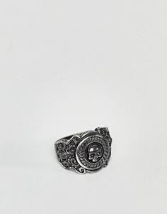 Черное кольцо с гравированным черепом Rebel Heritage - Черный