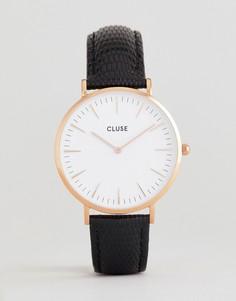 Часы с черным кожаным ремешком CLUSE CL18037 La Bohème - Черный