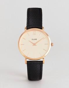 Часы с черным кожаным ремешком CLUSE CL30051 Minuit - Черный