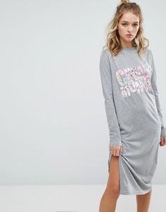 Платье-футболка с длинными рукавами и цветочным принтом Cheap Monday - Серый
