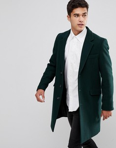 Пальто бутылочно-зеленого цвета с добавлением шерсти ASOS - Зеленый