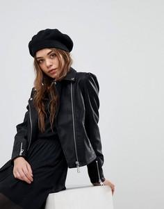 Куртка из искусственной кожи с пышными рукавами New Look - Черный