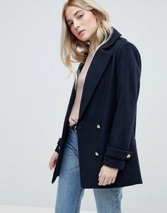 Пальто-бушлат с золотистыми пуговицами New Look - Синий