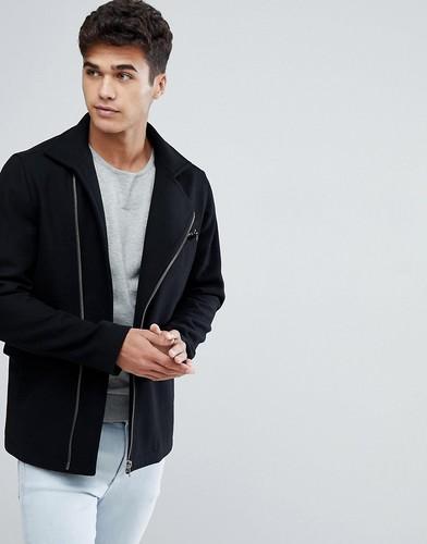 Пальто из смешанной шерсти с молниями Jack & Jones Premium - Черный