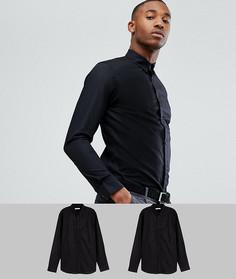2 премиум-рубашки узкого кроя Jack & Jones - Черный
