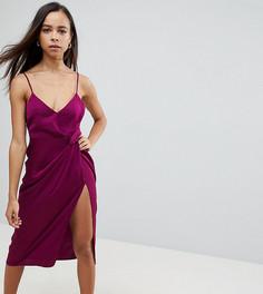 Атласное платье-футляр миди на бретельках с тиснением ASOS PETITE - Фиолетовый