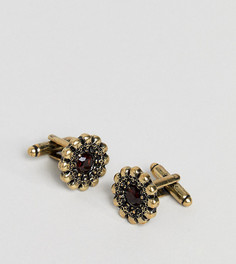 Запонки с черепами и красными камнями Reclaimed Vintage Inspired эксклюзивно для ASOS - Золотой