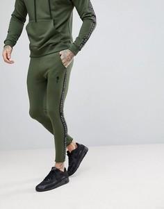 Джоггеры скинни цвета хаки с полосой из ленты Rose London - Зеленый
