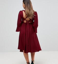Приталенное платье с расклешенными рукавами Queen Bee - Красный