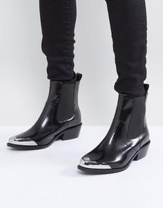 Кожаные ботинки челси в стиле вестерн ASOS AMBERLEY - Черный