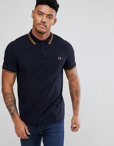 Темно-синяя приталенная рубашка с контрастной отделкой Fred Perry - Темно-синий
