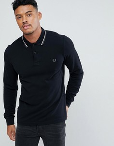 Черная приталенная рубашка с длинными рукавами и контрастной отделкой Fred Perry - Черный