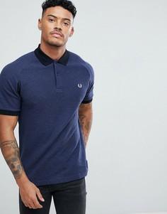 Темно-синяя облегающая футболка-поло в стиле колор блок Fred Perry - Темно-синий