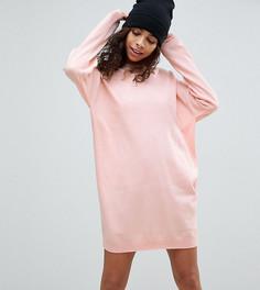 Трикотажное oversize-платье с круглым вырезом ASOS PETITE - Розовый