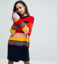 Вязаное платье оверсайз в полоску ASOS PETITE - Мульти