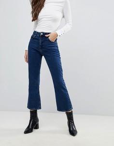 Укороченные расклешенные джинсы с выбеленным эффектом ASOS AUTHENTIC RIGID - Синий