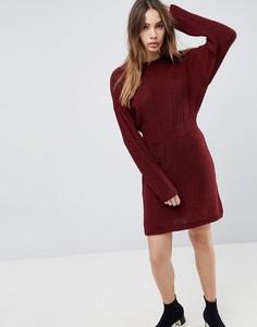 Вязаное платье с рукавами летучая мышь ASOS - Красный