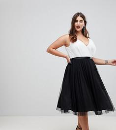 Платье миди для выпускного с юбкой из тюля и ленточными завязками ASOS CURVE PREMIUM - Мульти