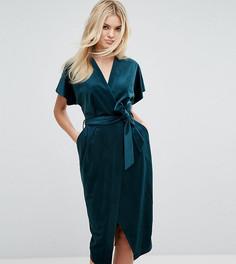 Бархатное платье с запахом и широкими рукавами Closet London Premium - Зеленый