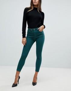 Зеленые джинсы скинни с завышенной талией ASOS RIDLEY - Зеленый
