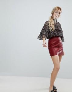 Мини-юбка из полиуретана New Look - Красный