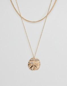 Многорядное ожерелье с диском ASOS - Золотой