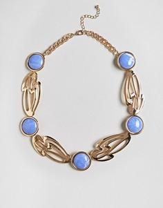 Броское ожерелье с камнем ASOS - Золотой